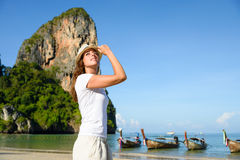 Woman at Krabi beach in Thailand Stock Photos
