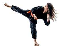Woman Kung Fu Pencak Silat isolated stock photos