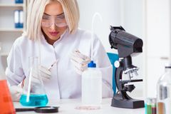 The woman lab analyst working on new drugs. Woman lab analyst working on new drugs stock photography