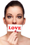 Woman with label love Royalty Free Stock Photo