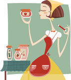 Woman labeling her home made jelly marmalade. Cartoon illustration Stock Image
