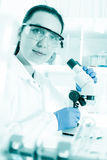 Woman laboratory assistant in the laboratory Royalty Free Stock Photo