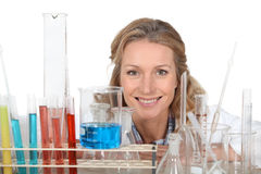 Woman with  laboratory equipment. Woman with a variety of laboratory equipment Royalty Free Stock Photography
