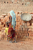 Woman Labour In Indian Brick-field royalty free stock images