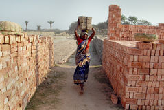 Woman Labour In Indian Brick-field Stock Images