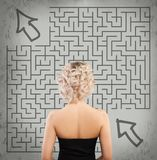 Woman and Labyrinth. Start up, Idea, Business Planning. And Strategy Concept Stock Images