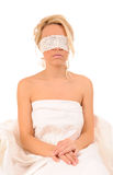 Woman with lace fastened on eyes Royalty Free Stock Images