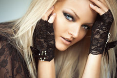 Woman In Lace Gloves Royalty Free Stock Images
