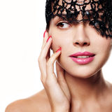 Woman with lace hat or cap royalty free stock image