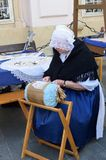 Woman Lace making at craft fair Royalty Free Stock Photo