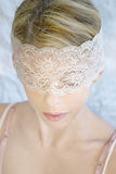 Woman in lace  mask Stock Photos