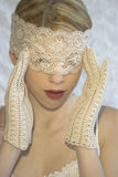 Woman in lace mask Royalty Free Stock Image
