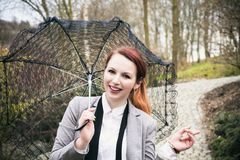 Woman with lace umbrella Royalty Free Stock Images