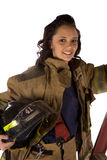 Woman ladder Stock Photo