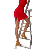 Woman on ladder. Stock Photography