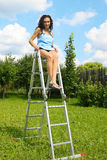 Woman on a ladder in garden Stock Photography