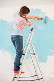 Woman on ladder painting wall with paint roller Royalty Free Stock Image