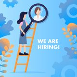 Woman on Ladder Zoom Girl Avatar with Magnifier stock illustration