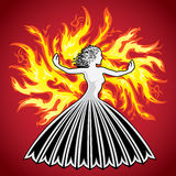Woman lady girl figure silhouette in fire flames. Woman lady girl elegant figure silhouette in fire flames Royalty Free Stock Image