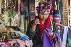 Lahu Hill Tribe Woman, Northern Thailand. Woman from the Lahu tribe with traditional costume, selling souvenirs, Chiang Rai, Thailand, Asia stock photography