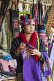 Lahu Hill Tribe Woman, Northern Thailand. Woman from the Lahu tribe with traditional costume, selling souvenirs, Chiang Rai, Thailand, Asia royalty free stock photography