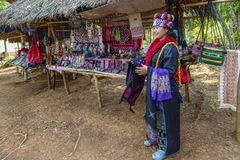 Lahu Hill Tribe Woman, Northern Thailand. Woman from the Lahu tribe with traditional costume, selling souvenirs, Chiang Rai, Thailand, Asia stock photos