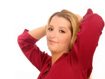 Woman Laid Back. Young casual woman Royalty Free Stock Photo