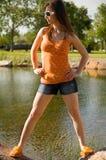Woman at lake Stock Photos