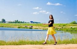 Woman at lake Royalty Free Stock Images