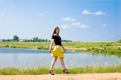 Woman at lake Royalty Free Stock Image
