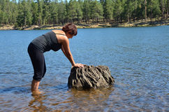 Woman in a Lake Stock Photography