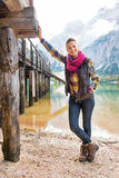 Woman on lake braies in south tyrol, italy Royalty Free Stock Image