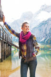 Woman on lake braies in south tyrol, italy Royalty Free Stock Photo