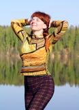 Woman at the lake Royalty Free Stock Photography