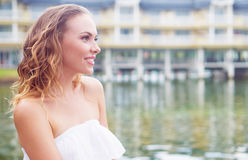 Woman by the lake Stock Photography