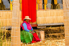 Woman on Lake Titicaca Royalty Free Stock Images