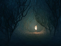 Woman with lamp in dark forest stock illustration