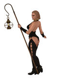 Woman with lamp. Fantasy rendered images of woman in skimpy black leather tunic and leggings carrying oil lamp on pole Royalty Free Stock Photography