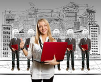 Woman and lamp head businesspeople with laptop Stock Photos