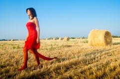 Woman on landckape near haystack Stock Photography