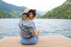 Woman on landscape, travel and adventure Royalty Free Stock Images