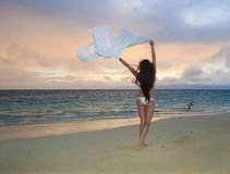 Woman on lanikai beach at sunrise Royalty Free Stock Images