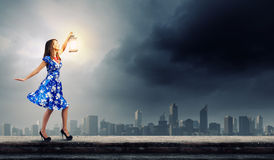 Woman with lantern Royalty Free Stock Images