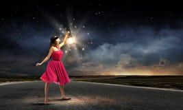 Woman with lantern Royalty Free Stock Photos
