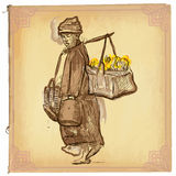 Woman from Laos - An hand drawn vector sketch, freehand, colored Royalty Free Stock Photography