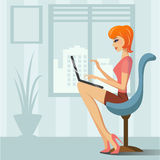 Woman with laptop. In the office Royalty Free Stock Images