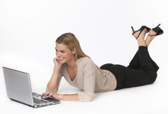 Woman on Laptop Stock Image