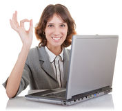 Woman and laptop. Business woman  in spectacles and laptop on white Stock Image