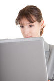 Woman and laptop. Business woman  in spectacles and laptop on white Royalty Free Stock Photo