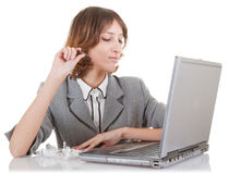 Woman and laptop Royalty Free Stock Images